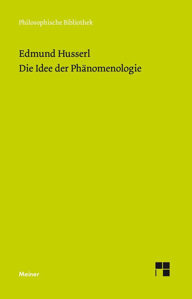 Die Idee der Phänomenologie als eBook pdf