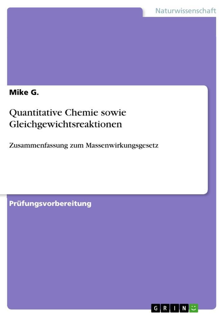 Quantitative Chemie sowie Gleichgewichtsreaktionen als eBook pdf