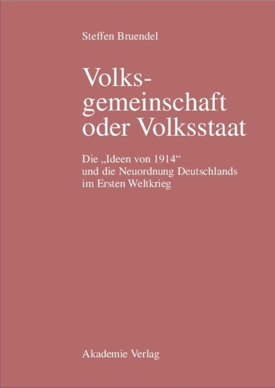 Volksgemeinschaft oder Volksstaat als Buch (gebunden)