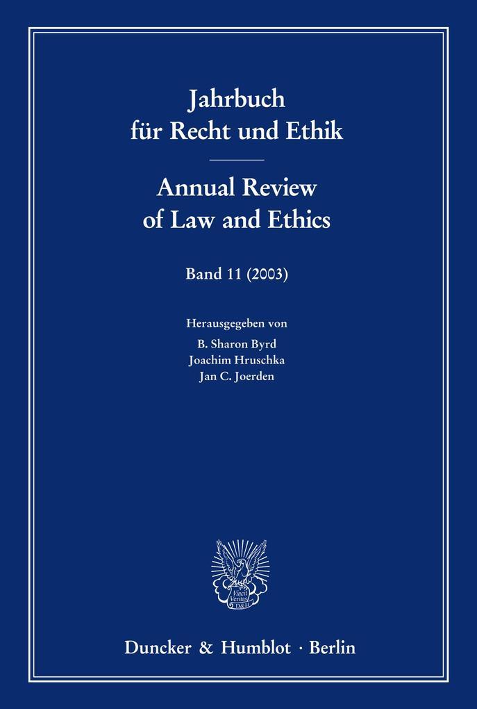 Jahrbuch für Recht und Ethik 11 / Annual Review of Law and Ethics 11 als Buch (kartoniert)