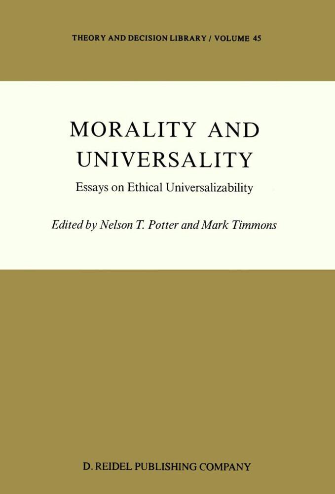 Morality and Universality als Buch (gebunden)