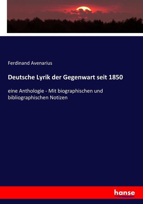 Deutsche Lyrik der Gegenwart seit 1850 als Buch (kartoniert)