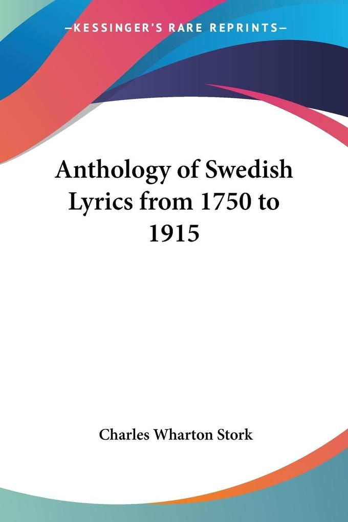 Anthology of Swedish Lyrics from 1750 to 1915 als Taschenbuch
