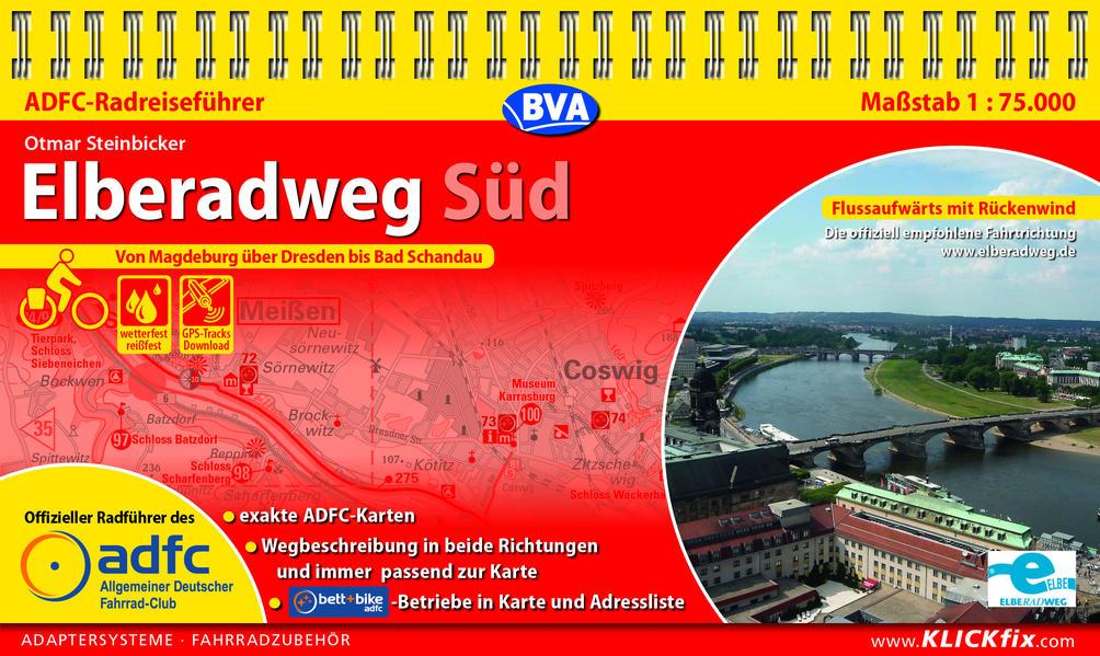 ADFC-Radreiseführer Elberadweg Süd 1:75.000 als Blätter und Karten