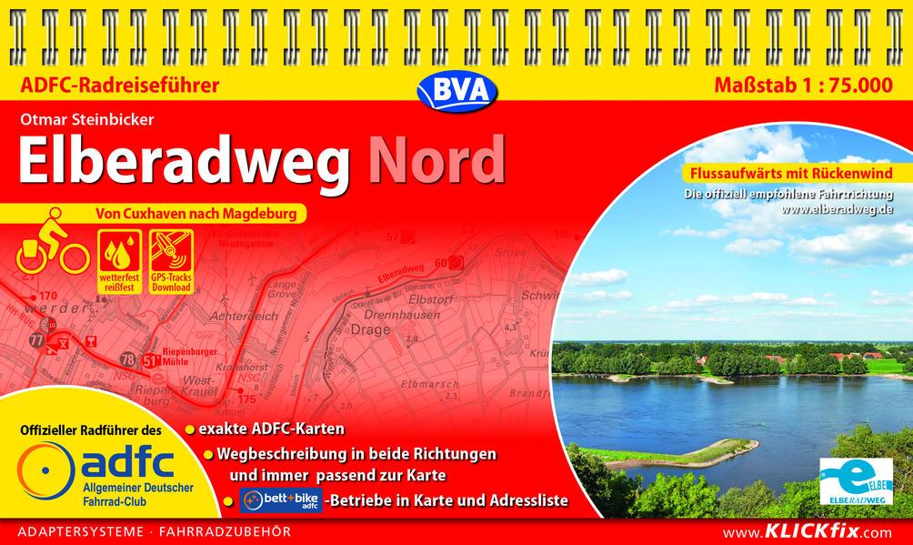 ADFC-Radreiseführer Elberadweg Nord 1:75.000 als Blätter und Karten