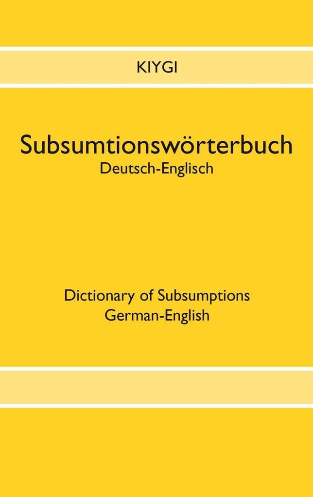Subsumtionswörterbuch Deutsch-Englisch als eBook epub