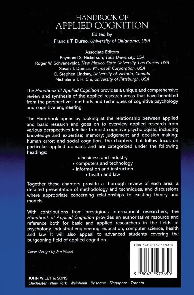 Handbook of Applied Cognition als Buch (gebunden)