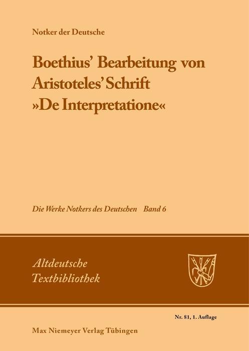 Boethius' Bearbeitung von Aristoteles' Schrift »De Interpretatione« als eBook pdf