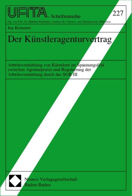 Der Künstleragenturvertrag als Buch (kartoniert)