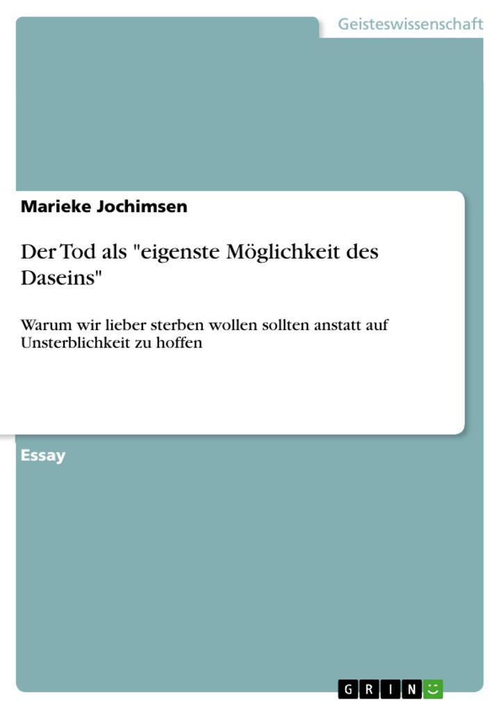 """Der Tod als """"eigenste Möglichkeit des Daseins"""" als eBook pdf"""