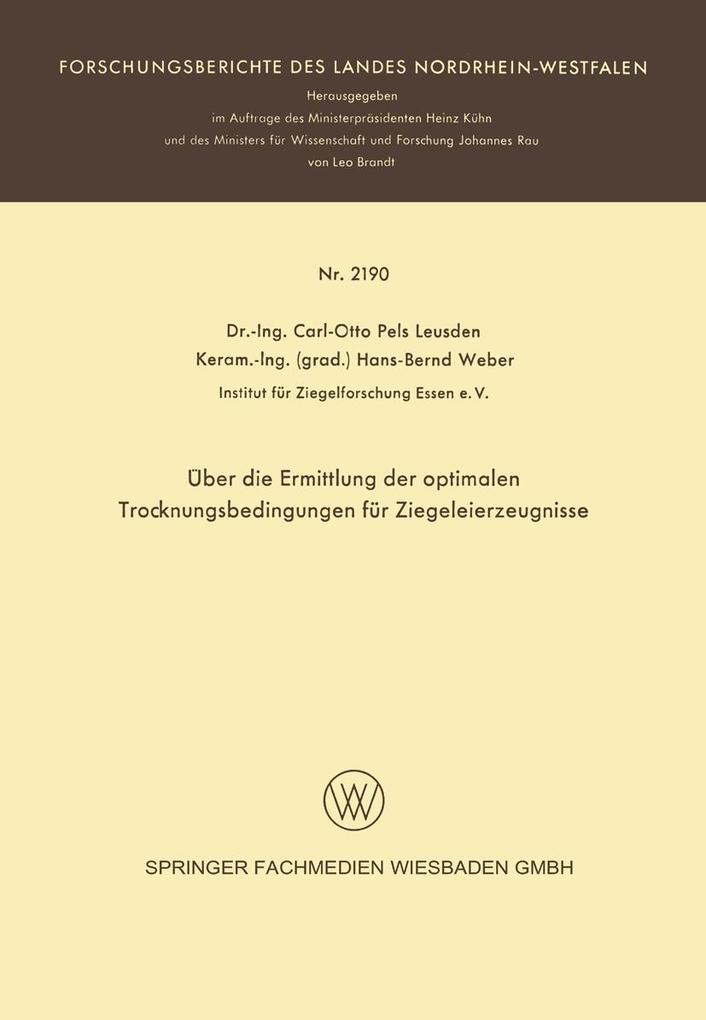 Über die Ermittlung der optimalen Trocknungsbedingungen für Ziegeleierzeugnisse als eBook pdf