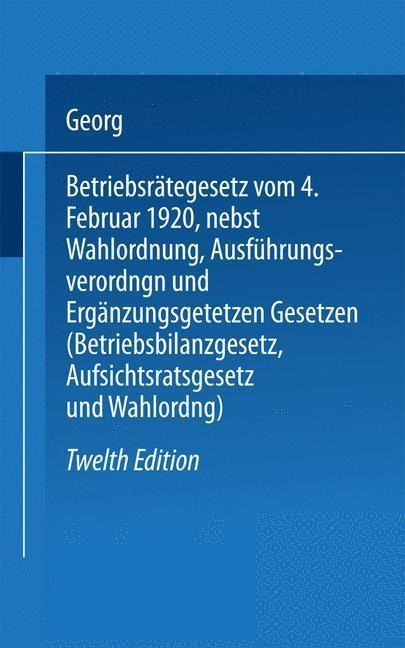 Betriebsrätegesetz als eBook pdf