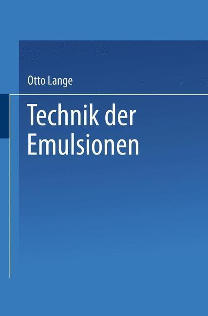 Technik der Emulsionen als eBook pdf
