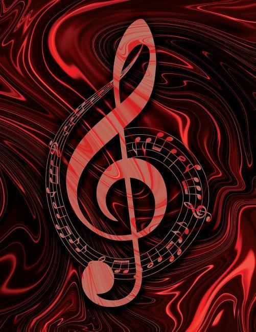 Music Songwriting Journal - Blank Sheet Music - Manuscript Paper for Songwriters and Musicians - Liquid Marble Series Red and Black: Composition Noteb als Taschenbuch