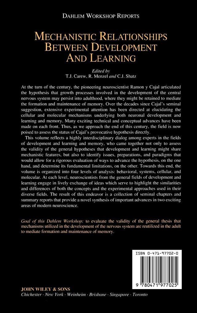 Dahlem Mechanistic Relationships als Buch (gebunden)