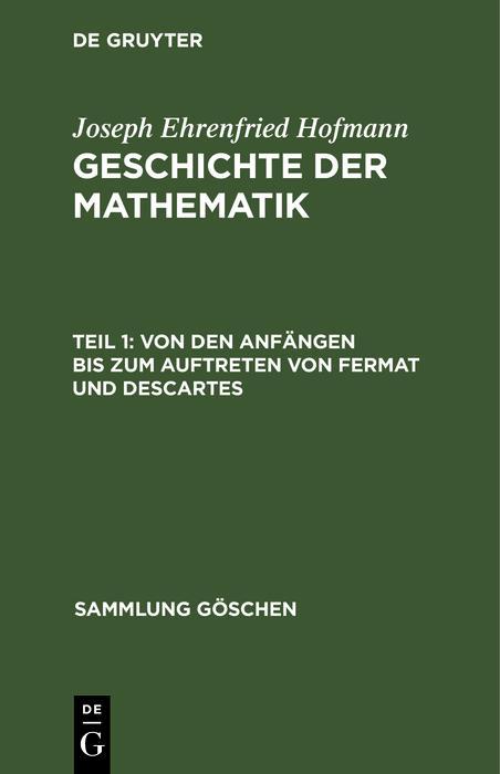Von den Anfängen bis zum Auftreten von Fermat und Descartes als eBook pdf