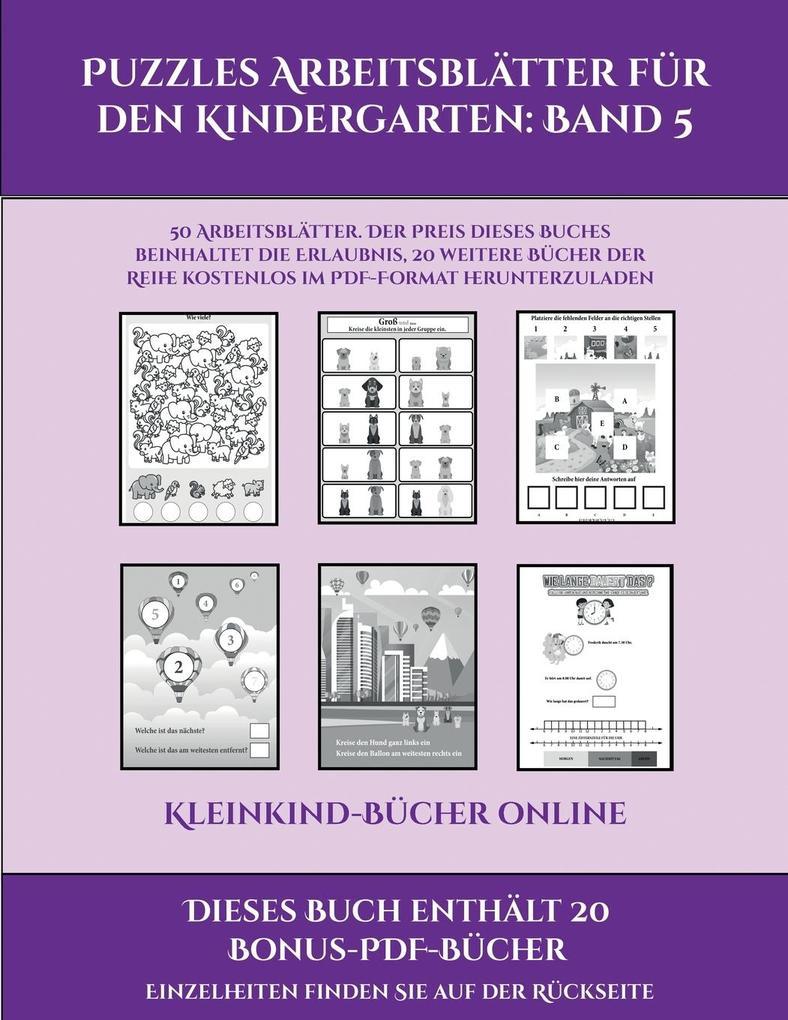 Kleinkind-Bücher online (Puzzles Arbeitsblätter für den Kindergarten: Band 5): 50 Arbeitsblätter. Der Preis dieses Buches beinhaltet die Erlaubnis, 20 als Taschenbuch