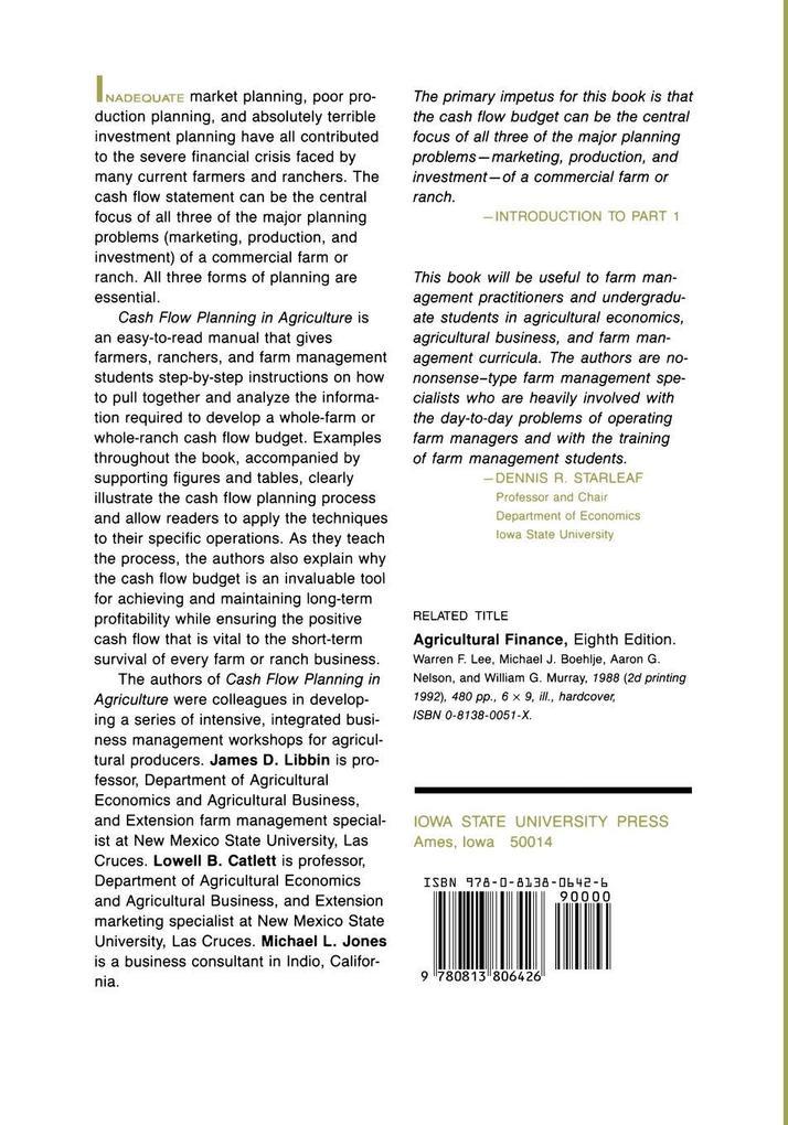 Cash Flow Planning in Agriculture als Taschenbuch