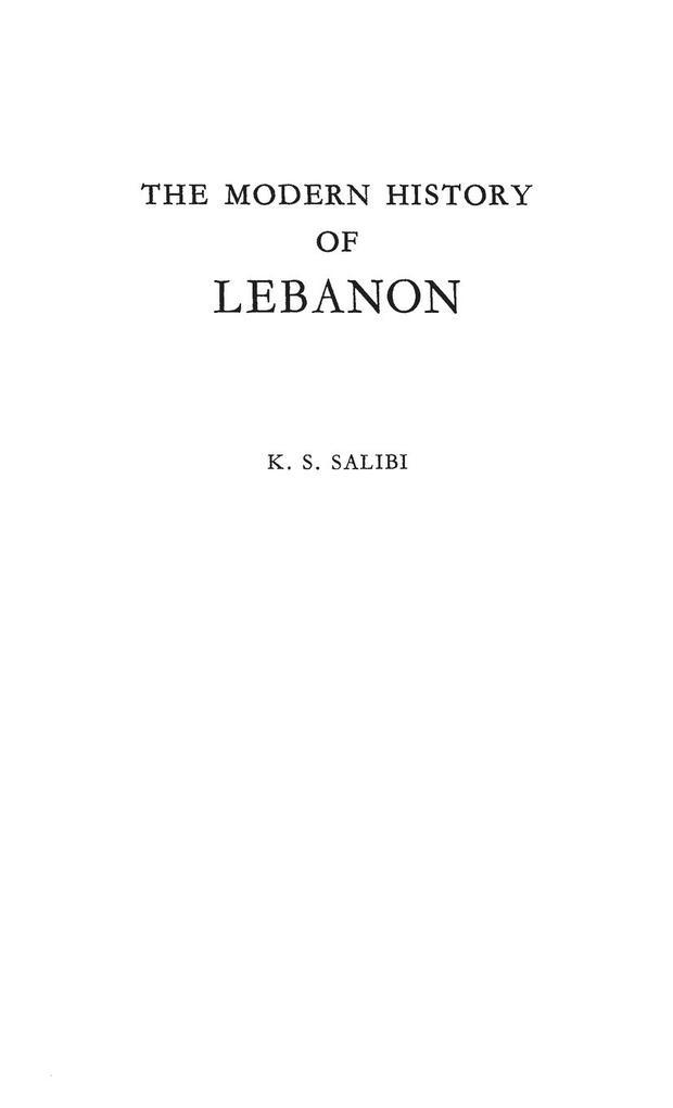The Modern History of Lebanon. als Buch (gebunden)