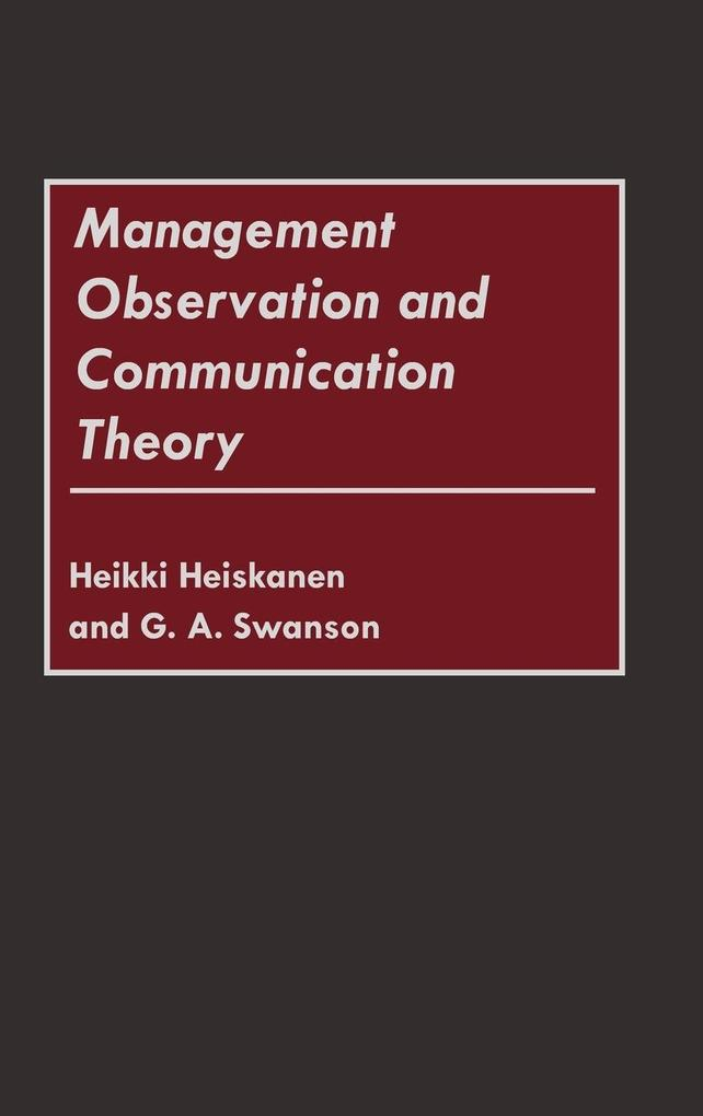 Management Observation and Communication Theory als Buch (gebunden)