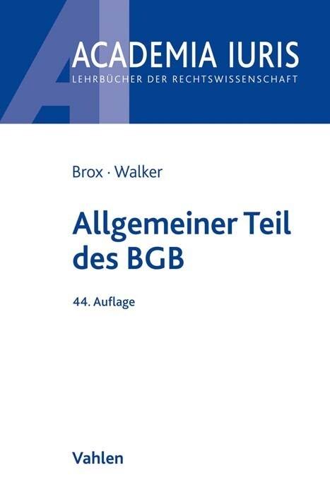 Allgemeiner Teil des BGB als Buch (kartoniert)