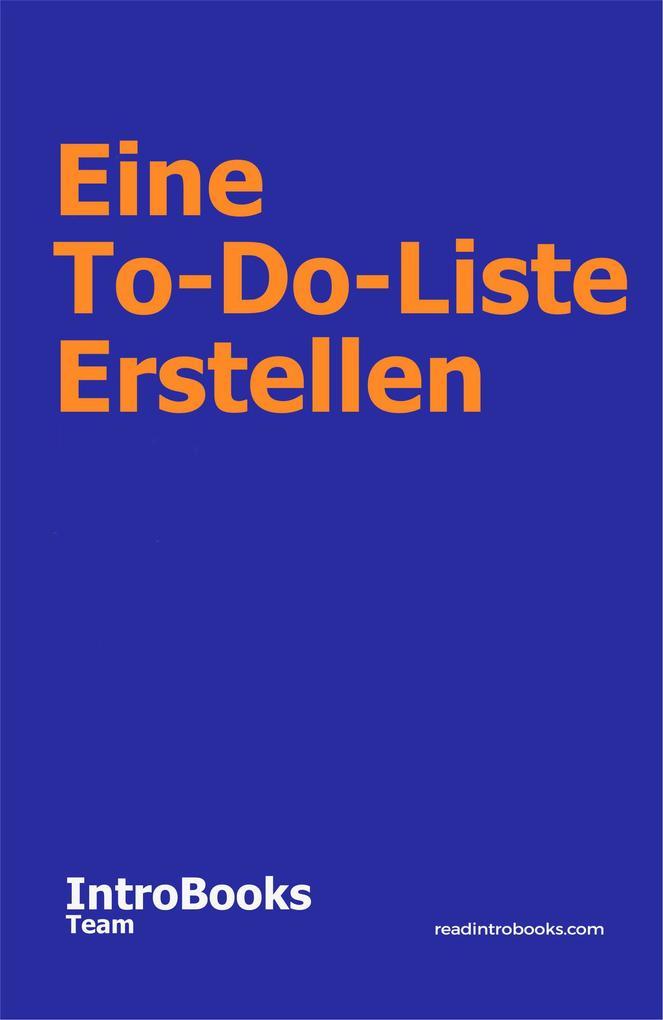 Eine To-Do-Liste Erstellen als eBook epub