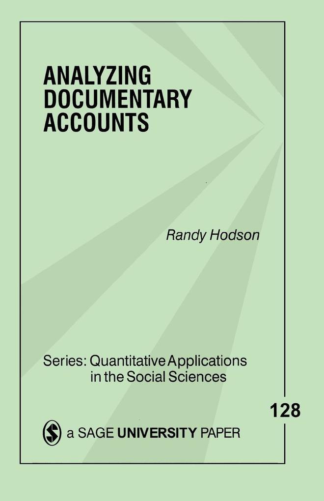 Analyzing Documentary Accounts als Taschenbuch