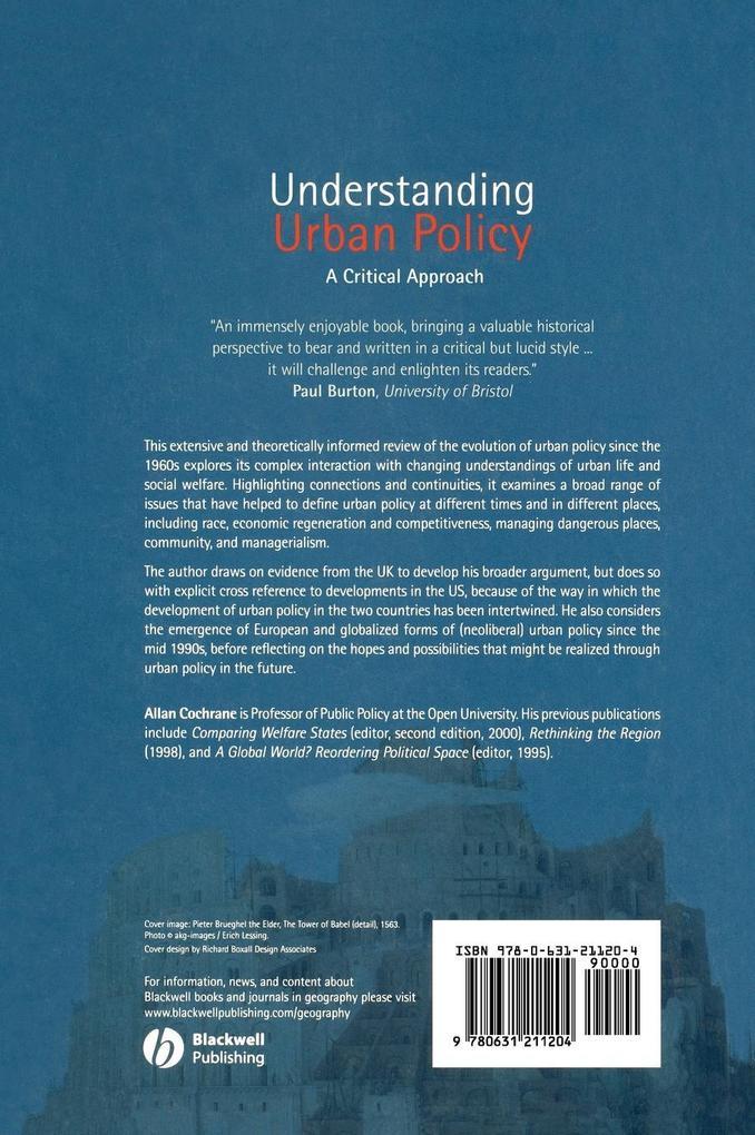 Understanding Urban Policy als Buch (gebunden)