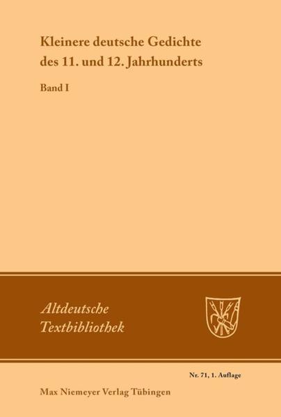 Kleinere deutsche Gedichte des 11. und 12. Jahrhunderts. Band 1 als Buch (kartoniert)