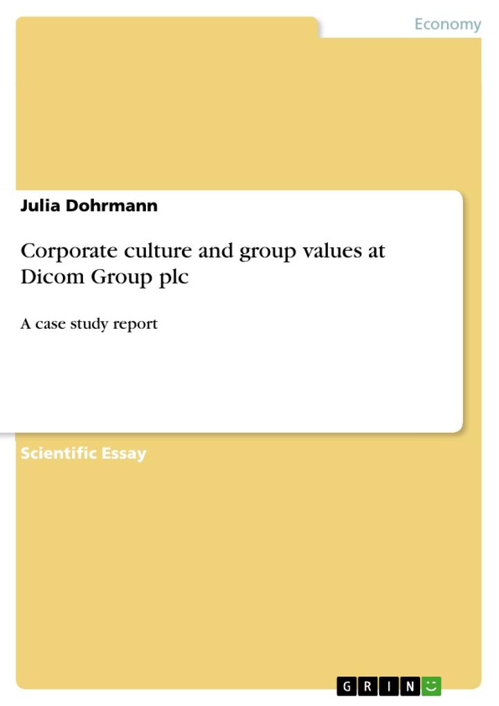 Corporate culture and group values at Dicom Group plc als Buch (kartoniert)