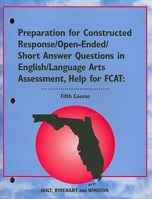 Florida Preparation for Constructed Response/Open-Ended/Short Answer Questions in English/Language Arts Assessment, Help for FCAT: Fifth Course als Taschenbuch