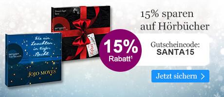 Sichern Sie sich 15% Advents-Rabatt auf Hörbucher mit Ihrem Gutschein SANTA15 bei eBook.de