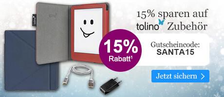 Sichern Sie sich 15% Advents-Rabatt auf tolino Zubehör mit Ihrem Gutschein SANTA15 bei eBook.de