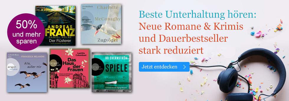 Beste Unterhaltung hören: Neue Romane & Krimis und Dauerbestseller stark reduziert bei eBook.de