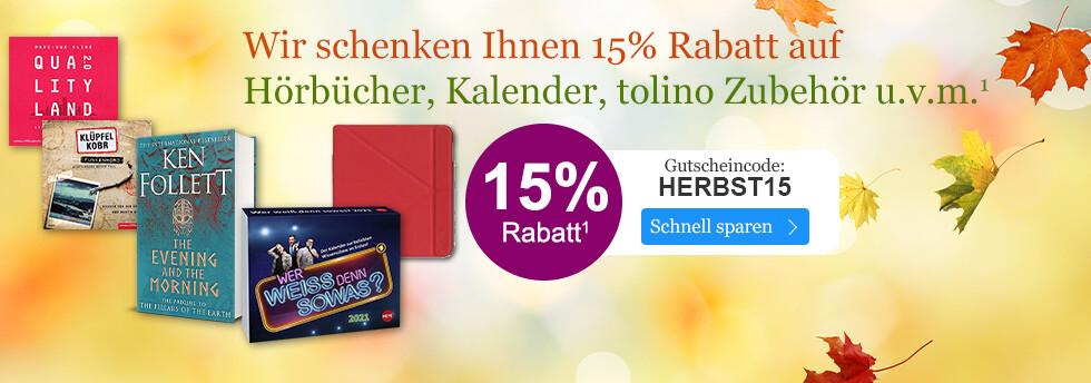 15% sparen auf viele Sortimente bei eBook.de mit dem Gutschein HERBST15