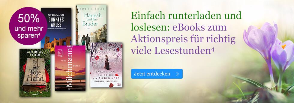 Einfach runterladen und loslesen: eBooks zum Aktionspreis für richtig viele Lesestunden bei eBook.de