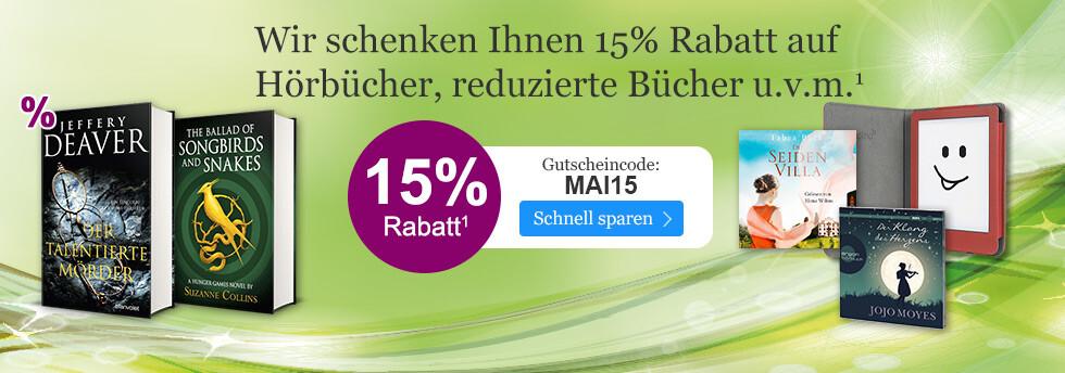 Sichern Sie sich 15% Rabatt auf Hörbücher, tolino Zubehör und vieles mehr mit dem Gutschein MAI15 bei eBoook.de