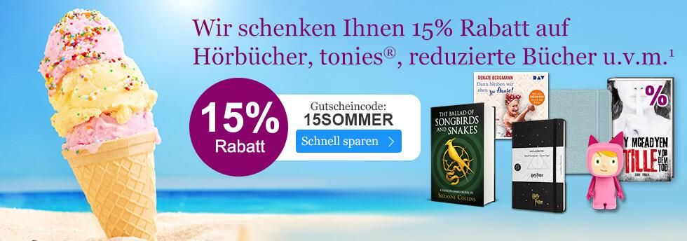 15% sparen auf viele Sortimente bei eBook.de mit dem Gutschein 15SOMMER