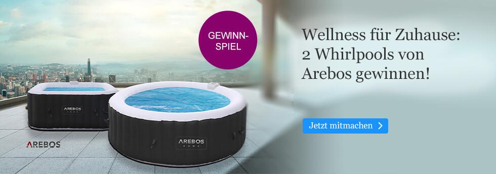 Zwei selbstaufblasende Whirlpools von Arebos zu gewinnen bei eBook.de