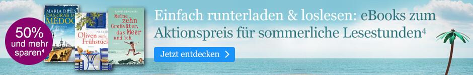 Einfach runterladen und loslesen: eBooks zum Aktionspreis für sommerliche Lesestunden bei eBook.de